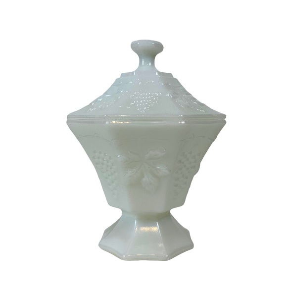 Imperial Milk Glass Covered Compote Candy Dish
